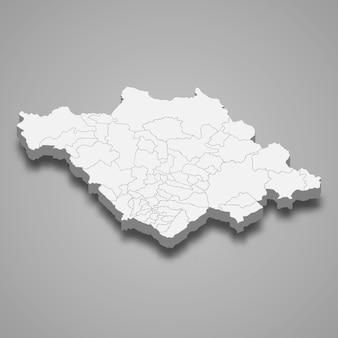 Ilustração do mapa 3d da ilustração do estado de tlaxcala no méxico