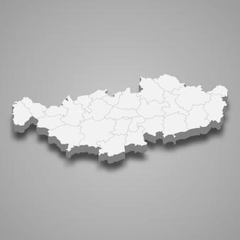 Ilustração do mapa 3d da província de brabante valão da bélgica