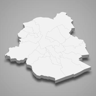 Ilustração do mapa 3d da província de bruxelas, na bélgica