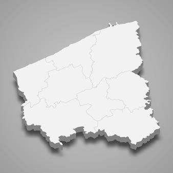 Ilustração do mapa 3d da província de flandres ocidental da bélgica