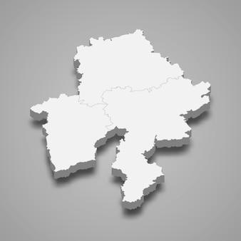 Ilustração do mapa 3d da província de namur, na bélgica