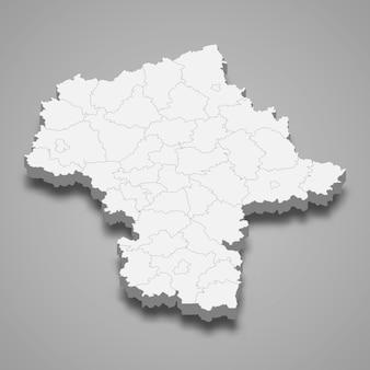 Ilustração do mapa 3d da voivodia da masóvia, província da polônia