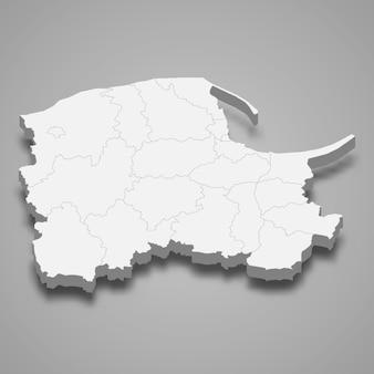 Ilustração do mapa 3d da voivodia da pomerânia, província da polônia