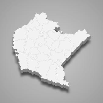 Ilustração do mapa 3d da voivodia da província da polônia em subcarpácia