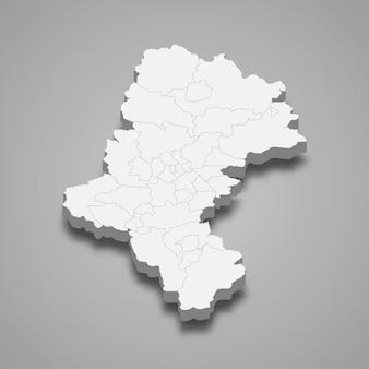 Ilustração do mapa 3d da voivodia da silésia, província da polônia