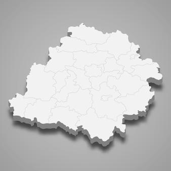 Ilustração do mapa 3d da voivodia de lodz, província da polônia