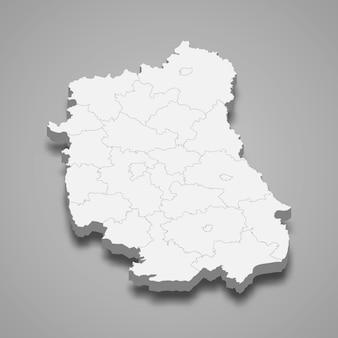 Ilustração do mapa 3d da voivodia de lublin, província da polônia
