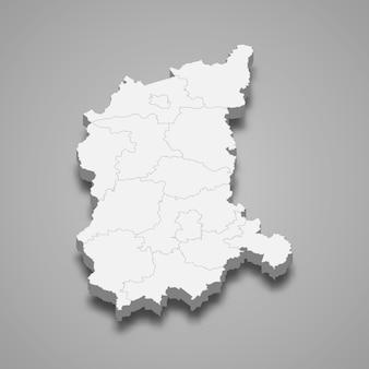 Ilustração do mapa 3d da voivodia de lubusz, província da polônia