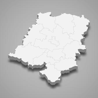 Ilustração do mapa 3d da voivodia de opole, província da polônia