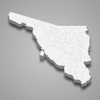 Ilustração do mapa 3d de sonora, estado do méxico