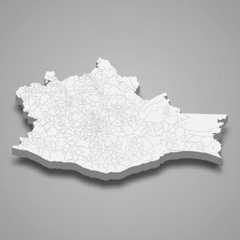 Ilustração do mapa 3d do estado de oaxaca no méxico
