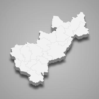 Ilustração do mapa 3d do estado de queretaro, no méxico