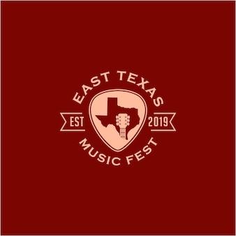 Ilustração do mapa abstrato do texas com espaço negativo e design do logotipo do guitar music country