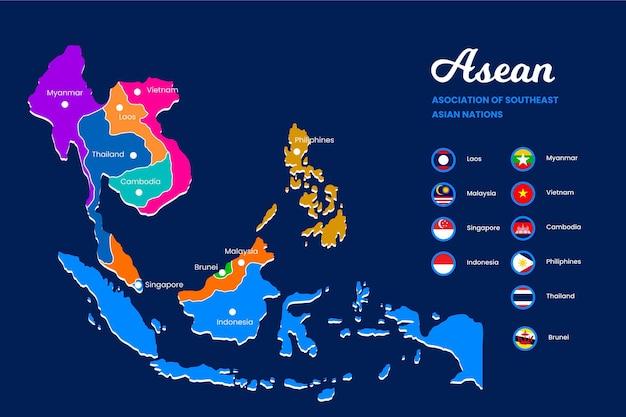 Ilustração do mapa asean