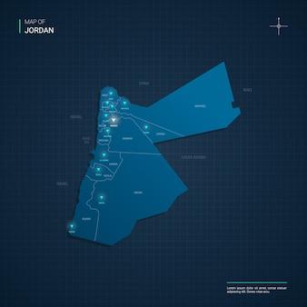 Ilustração do mapa da jordânia com pontos de luz de néon azul