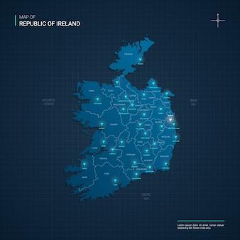 Ilustração do mapa da república da irlanda com pontos de luz de néon azul brilham.