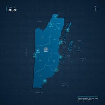Ilustração do mapa de belize com pontos de luz de néon azul - triângulo em gradiente azul escuro. divisões administrativas, cidades, fronteiras, capital.