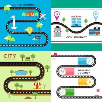 Ilustração do mapa de viagem