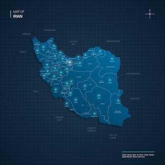 Ilustração do mapa do irã com pontos de luz de néon azul