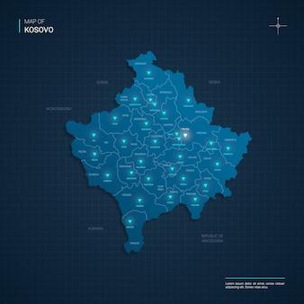 Ilustração do mapa do vetor kosovo com pontos de luz de néon azul