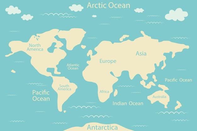 Ilustração do mapa político do mundo.