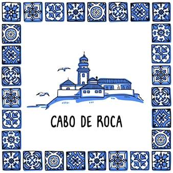 Ilustração do marco histórico de portugal farol do cabo de roca