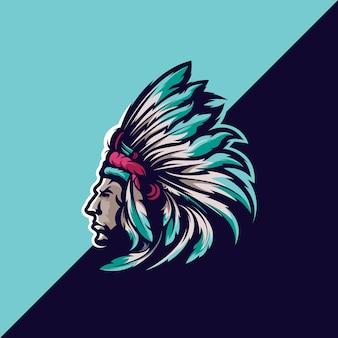 Ilustração do mascote cabeça apache