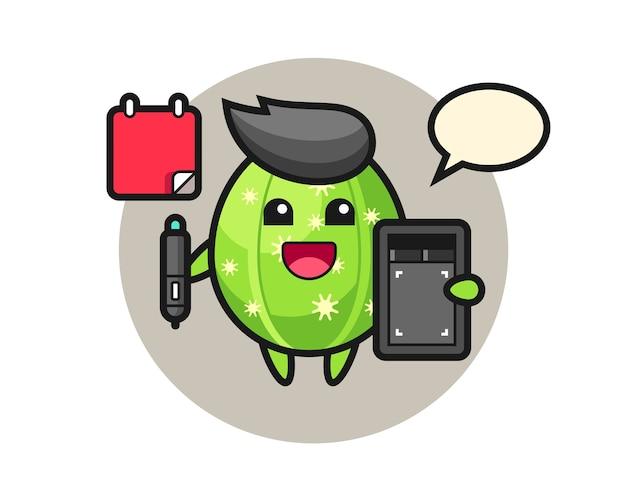 Ilustração do mascote cacto como designer gráfico