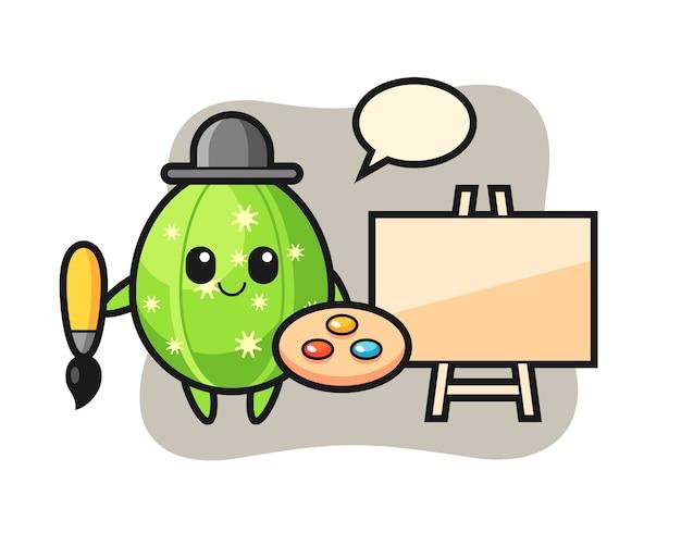 Ilustração do mascote cacto como pintor