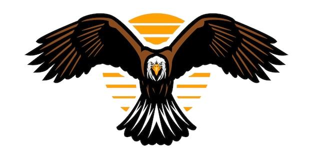 Ilustração do mascote da águia abrindo as asas