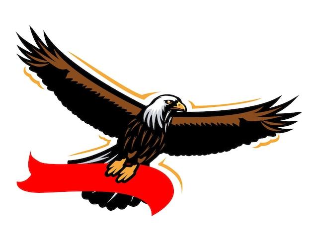 Ilustração do mascote da águia com fita vermelha