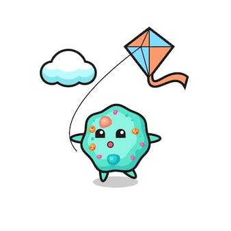 Ilustração do mascote da ameba está jogando pipa, design de estilo fofo para camiseta, adesivo, elemento de logotipo