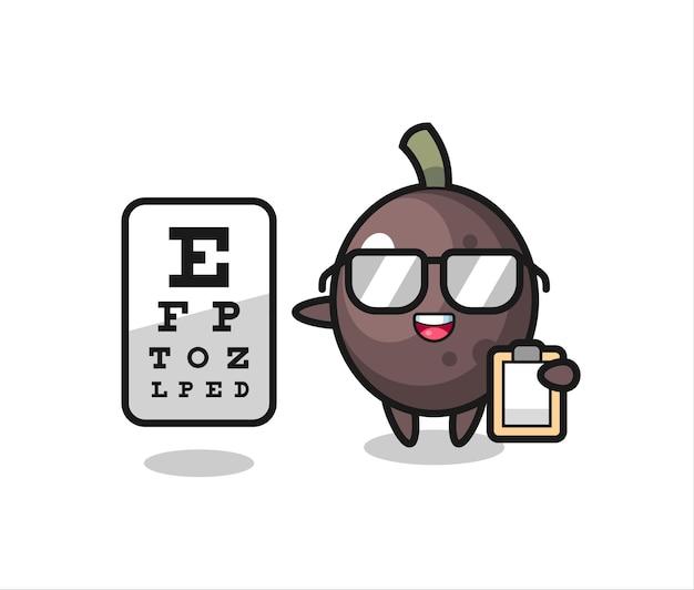 Ilustração do mascote da azeitona preta como oftalmologia, design de estilo fofo para camiseta, adesivo, elemento de logotipo