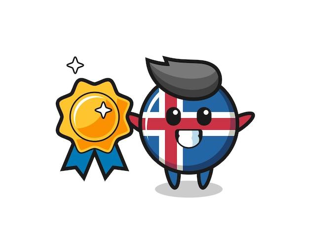 Ilustração do mascote da bandeira da islândia segurando um distintivo dourado, design fofo
