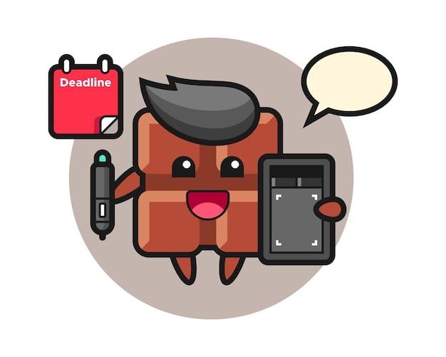 Ilustração do mascote da barra de chocolate como designer gráfico, estilo kawaii fofo.