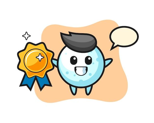 Ilustração do mascote da bola de neve segurando um emblema dourado, design de estilo fofo para camiseta, adesivo, elemento de logotipo