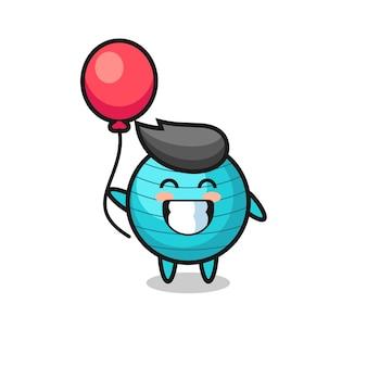 Ilustração do mascote da bola do exercício está jogando balão, design de estilo fofo para camiseta, adesivo, elemento de logotipo