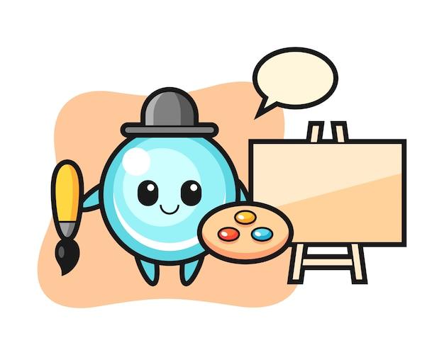 Ilustração do mascote da bolha como pintor, design de estilo bonito