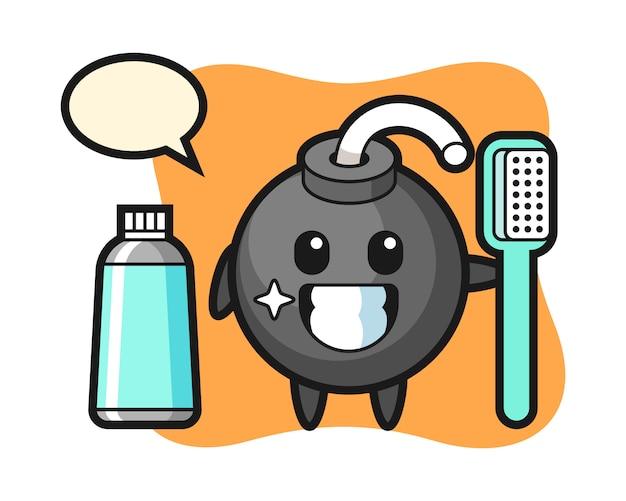 Ilustração do mascote da bomba com uma escova de dentes