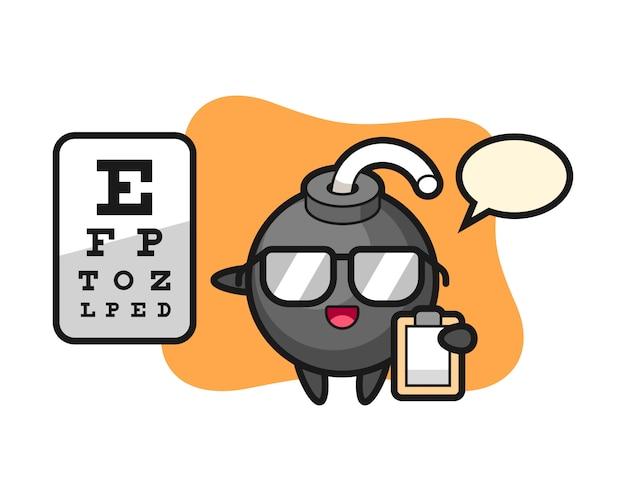 Ilustração do mascote da bomba como oftalmologia