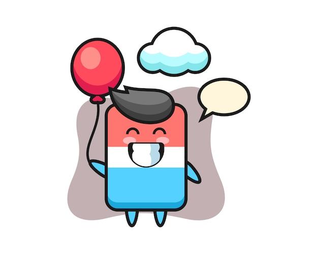 Ilustração do mascote da borracha jogando balão, estilo fofo, adesivo, elemento de logotipo