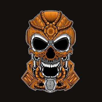 Ilustração do mascote da cabeça do crânio.