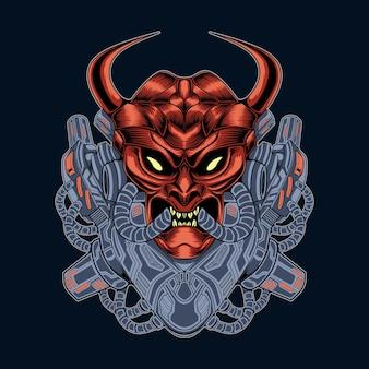 Ilustração do mascote da cabeça do demônio mecha