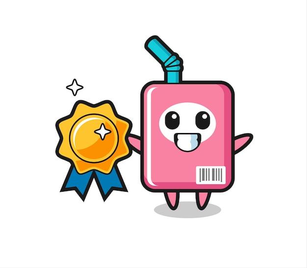 Ilustração do mascote da caixa de leite segurando um emblema dourado, design de estilo fofo para camiseta, adesivo, elemento de logotipo