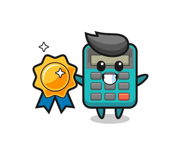 Ilustração do mascote da calculadora segurando um emblema dourado, design de estilo fofo para camiseta, adesivo, elemento de logotipo