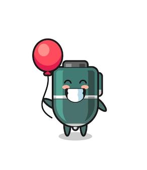 Ilustração do mascote da caneta esferográfica jogando balão, design fofo