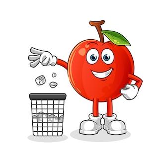 Ilustração do mascote da cereja jogando lixo na lata de lixo