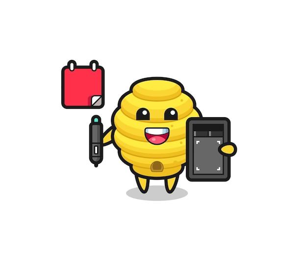 Ilustração do mascote da colmeia de abelhas como designer gráfico, design fofo