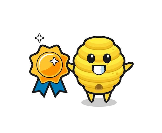 Ilustração do mascote da colmeia de abelhas segurando um emblema dourado, design fofo