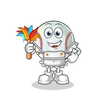 Ilustração do mascote da empregada de beisebol
